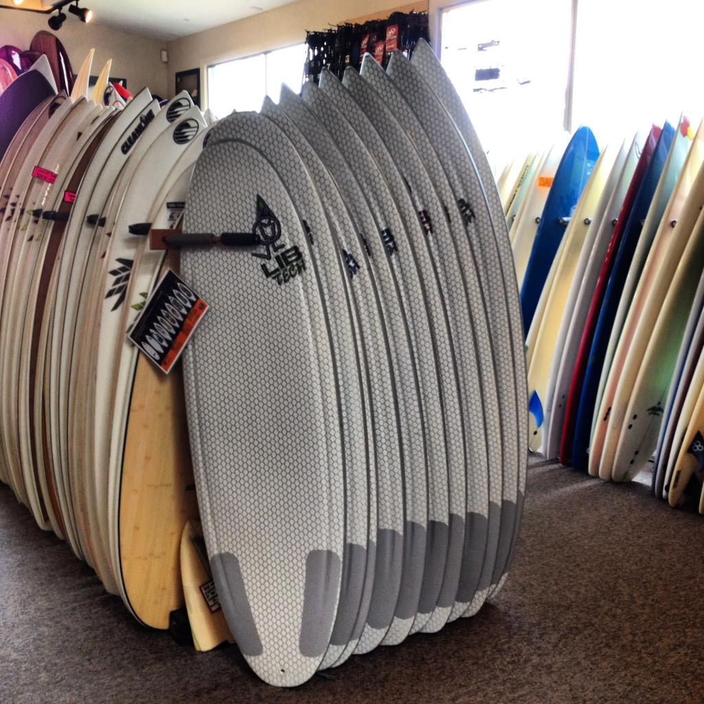 Lib Tech Surfboards on the rack at Cleanline Surf Shop