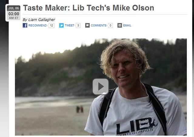 ESPN.com Mike Olson Lib Tech Surfboards Interview